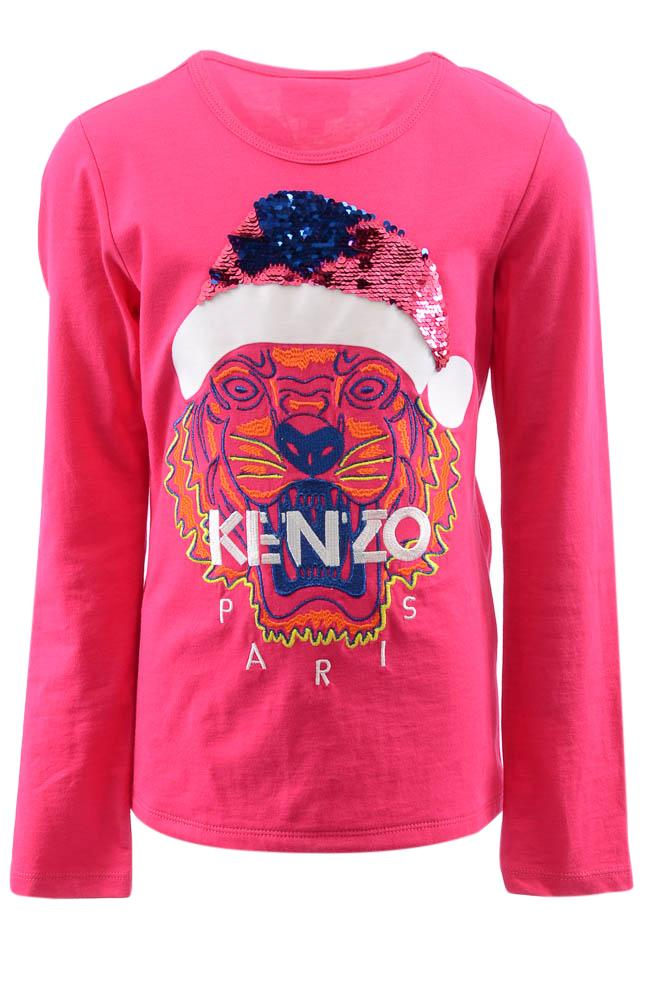 Girls' Kenzo Kids Tiger Sequin Embroidered T-shirt Top APPAREL Kenzo Kids 10 Pink
