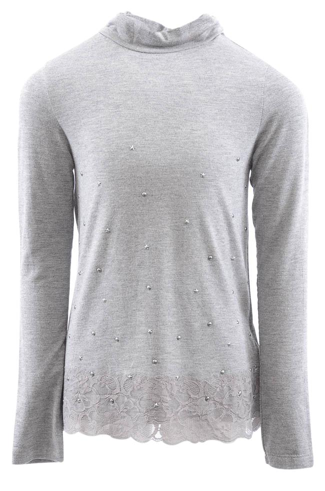 Girls' Mayoral Embellished Lace T-shirt Top - 8 APPAREL Mayoral 8 Gray