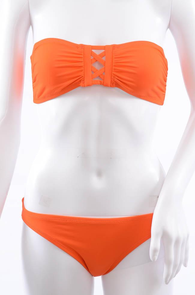 Proenza Schouler Criss-Cross 2 Piece Bandeau Bikini Swim Set - M APPAREL Proenza Schouler Medium Orange