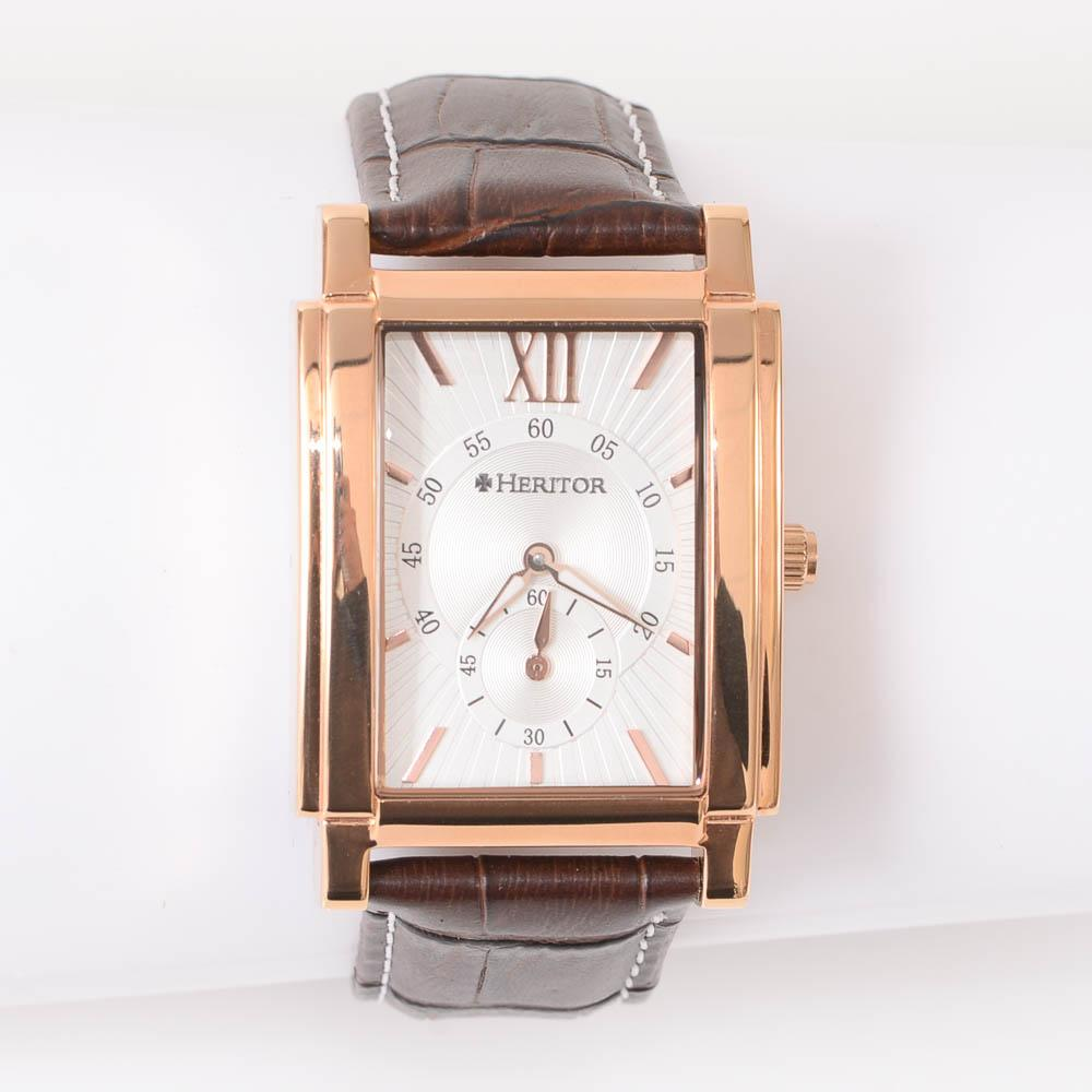 Heritor Frederick Square Leather Band Automatic Mens Watch JEWELRY Heritor