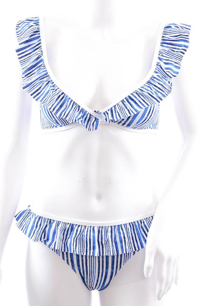 Tart Collection Ruffle 2 Piece Stripe Print Bikini Swim Set - XS APPAREL Tart Collection X-Small Blue