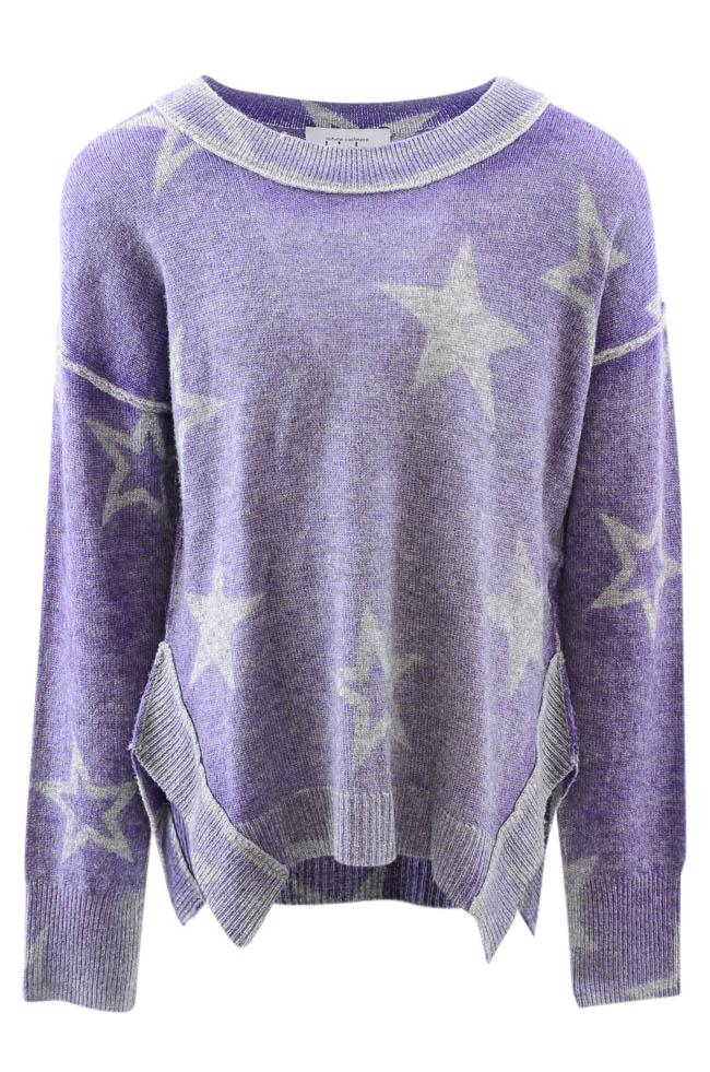 Girls' Autumn Cashmere Kids Stellar Reversible Star Print Pullover Sweater - 8 APPAREL Autumn Cashmere Kids 8 Purple