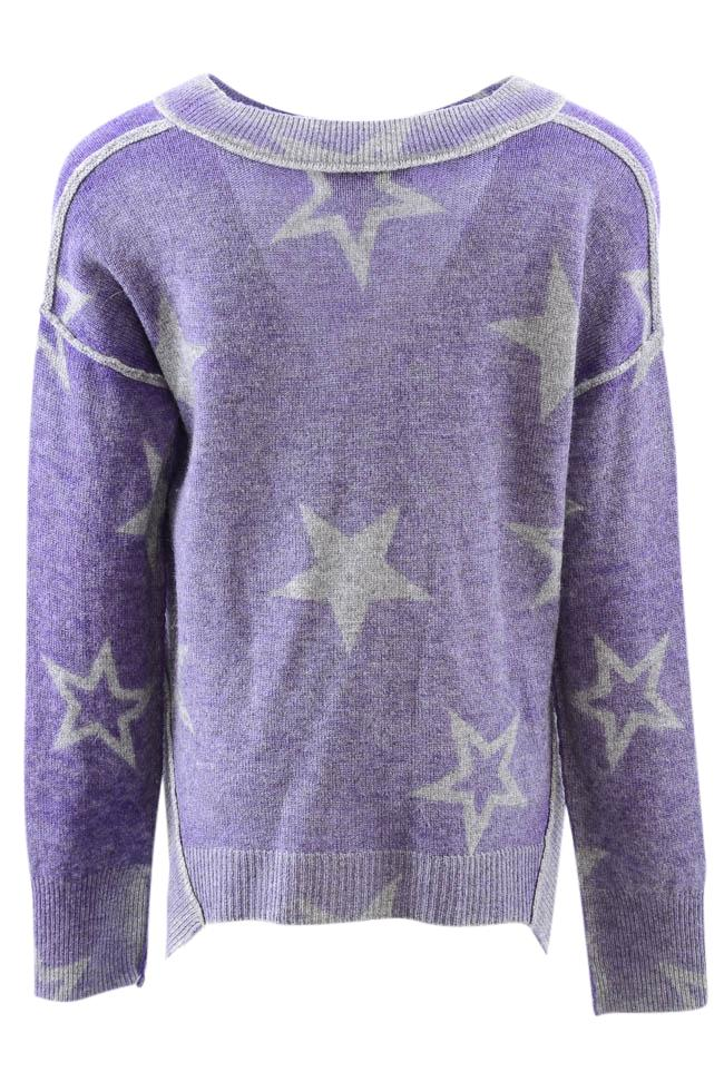 Girls' Autumn Cashmere Kids Stellar Reversible Star Print Pullover Sweater - 8 APPAREL Autumn Cashmere Kids