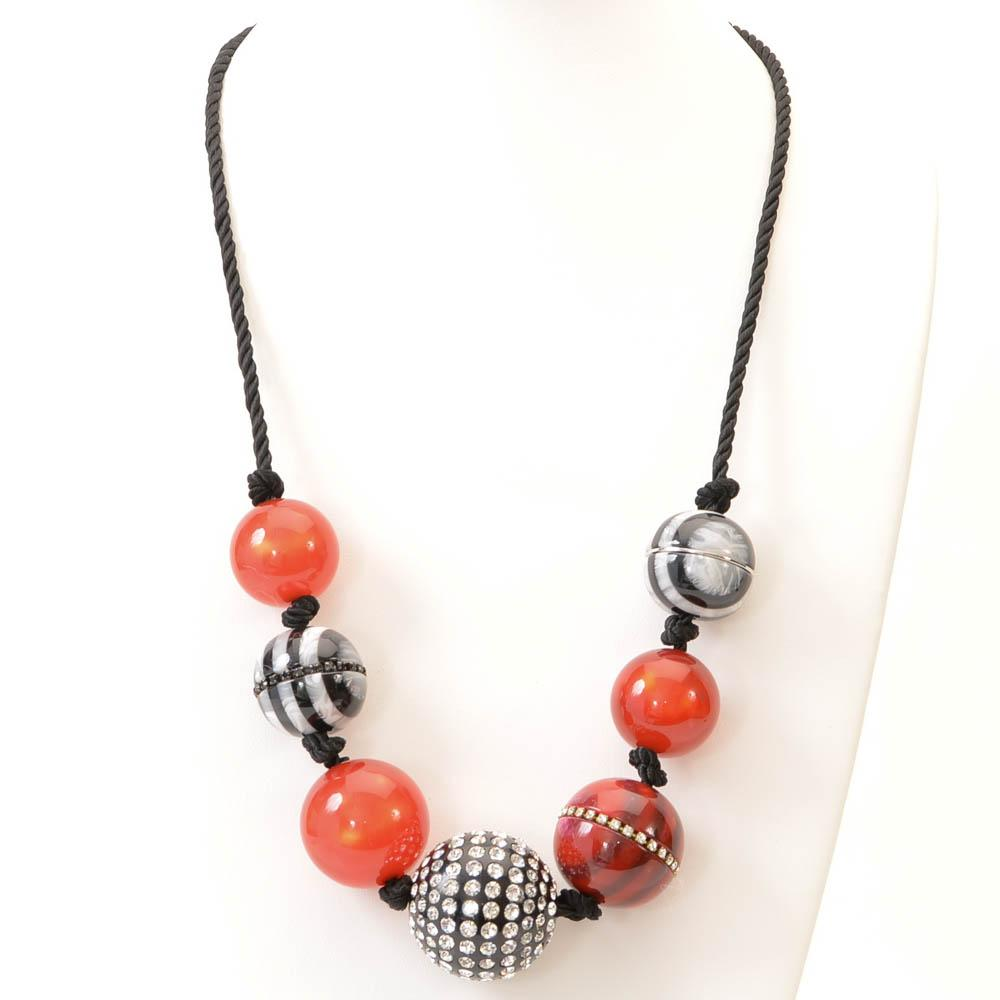 Marc Jacobs Striped Bead Statement Necklace JEWELRY Marc Jacobs Default Title