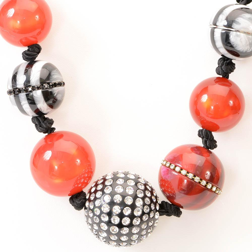Marc Jacobs Striped Bead Statement Necklace JEWELRY Marc Jacobs
