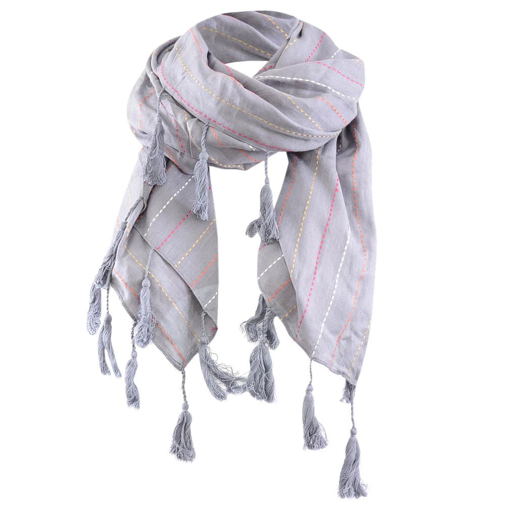 Barney's New York Embroidered Stripe Tassel Trim Scarf ACCESSORIES Barney's New York Gray