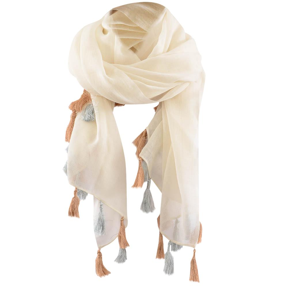 Barney's New York Sheer Tassel Trim Scarf ACCESSORIES Barney's New York Beige