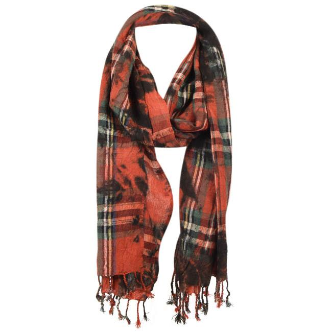 BDG Tie-Dye Plaid Print Rectangle Scarf ACCESSORIES BDG Red