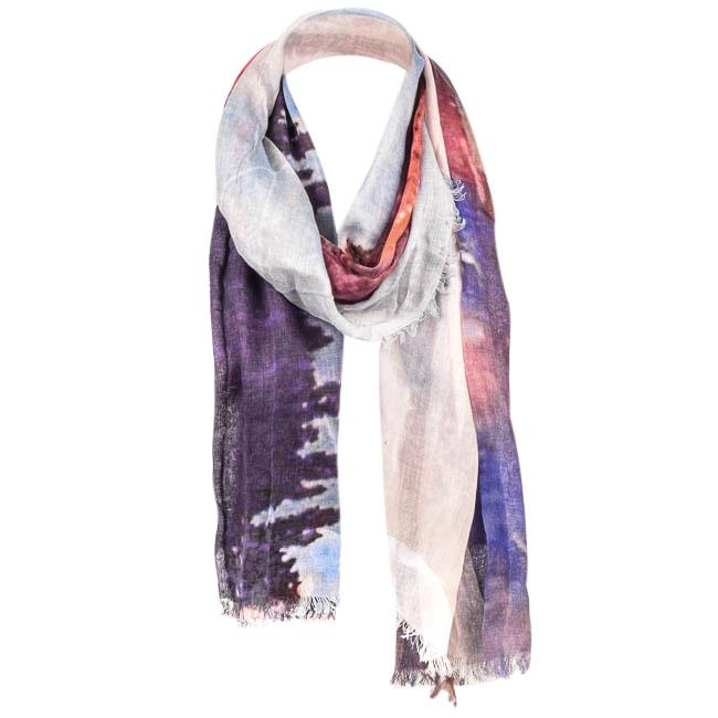 Deena & Ozzy Sheer Abstract Print Woven Scarf ACCESSORIES Deena & Ozzy Purple
