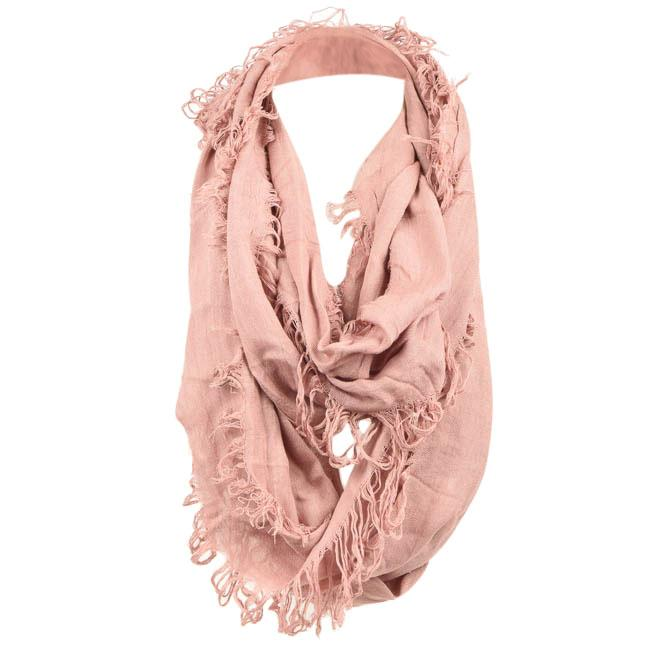Deena & Ozzy Rectangle Shredded Infinity Scarf ACCESSORIES Deena & Ozzy Pink
