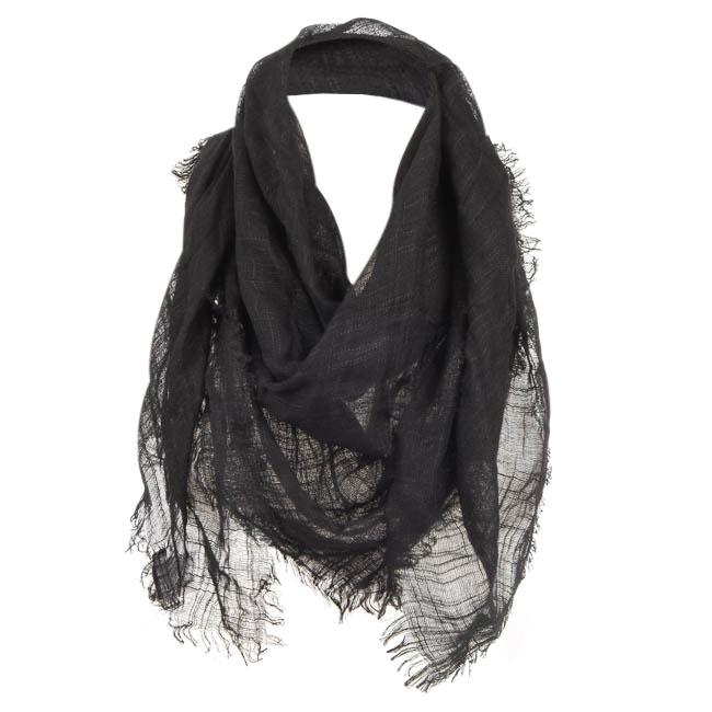 Barney's New York Sheer Square Scarf ACCESSORIES Barney's New York Black