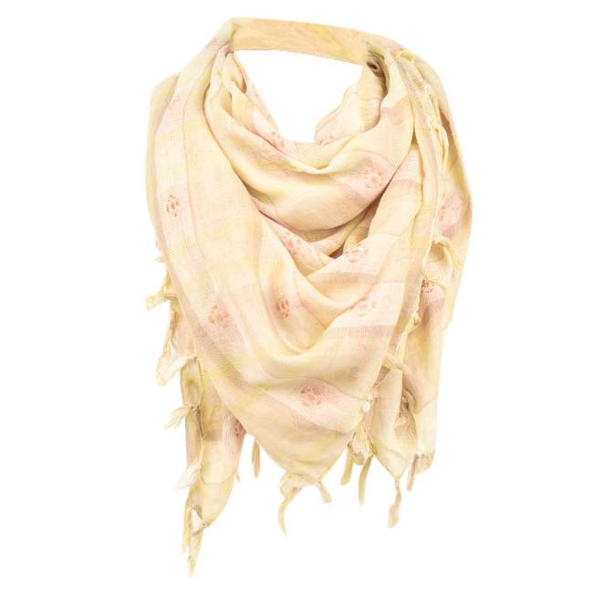 BDG Woven Square Plaid Fringe Scarf ACCESSORIES BDG White