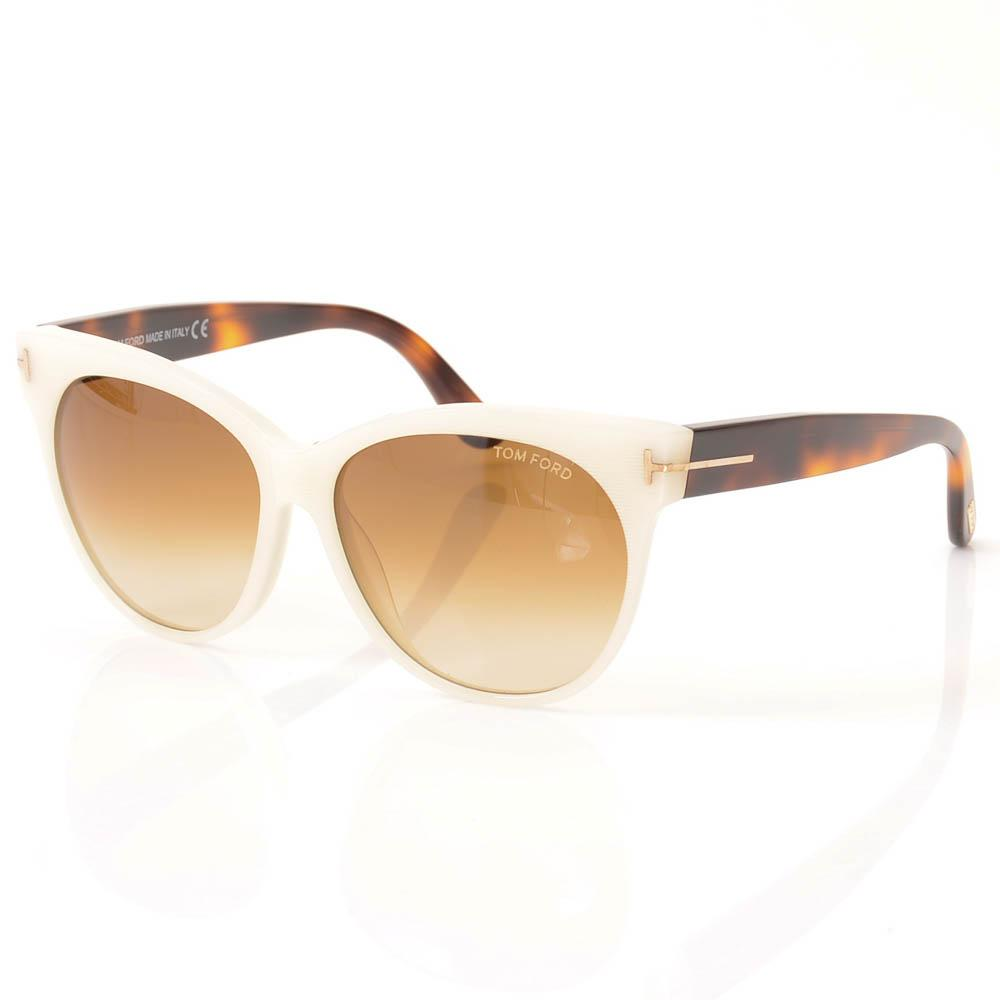Tom Ford Saskia Striped Cat Eye Sunglasses ACCESSORIES Tom Ford 57-14-140 White