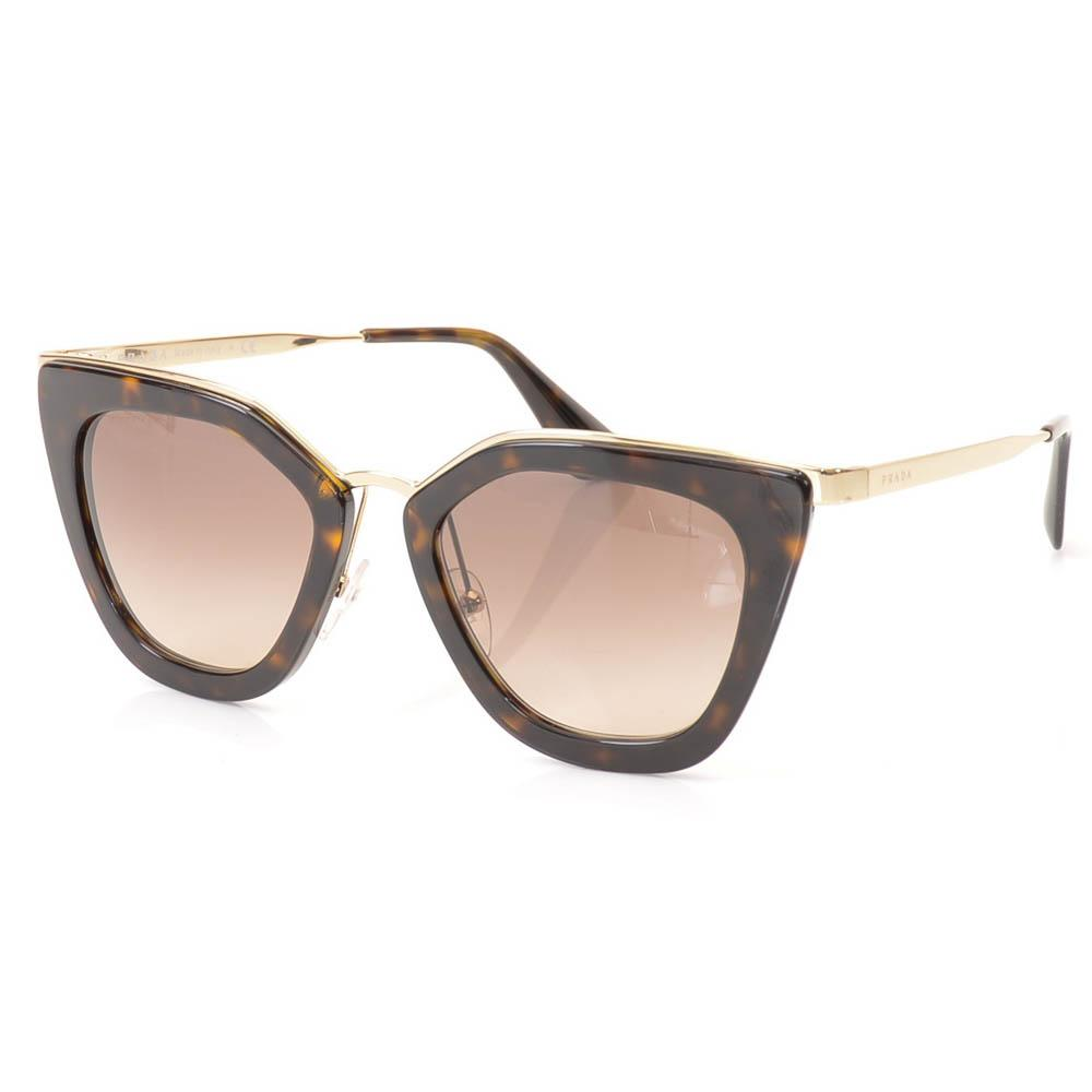 Prada Metal Trim Havana Cat Eye Sunglasses ACCESSORIES Prada 52-21-140 Brown