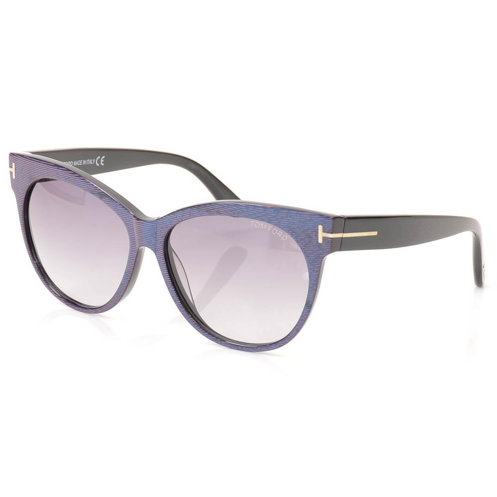 Tom Ford Saskia Striped Cat Eye Sunglasses ACCESSORIES Tom Ford 57-14-140 Blue