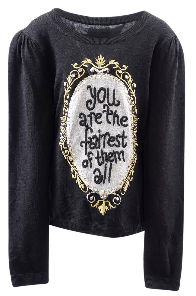 Girls' Disney x Alice+Olivia Snow White Embroidered Sweater - 10/12 APPAREL Disney x Alice+Olivia 10/12 Black