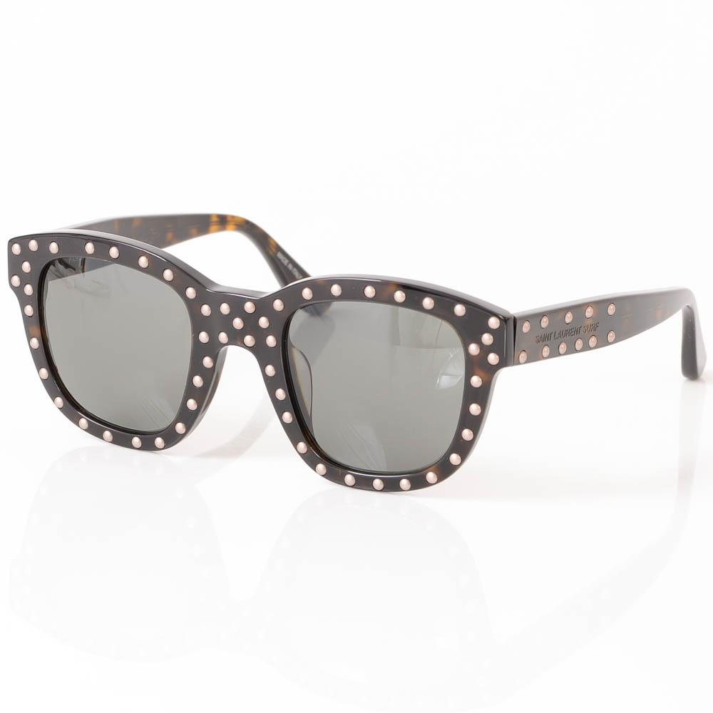 Saint Laurent Lou Studded Cat Eye Frame Sunglasses ACCESSORIES Saint Laurent 49-25-145 Brown
