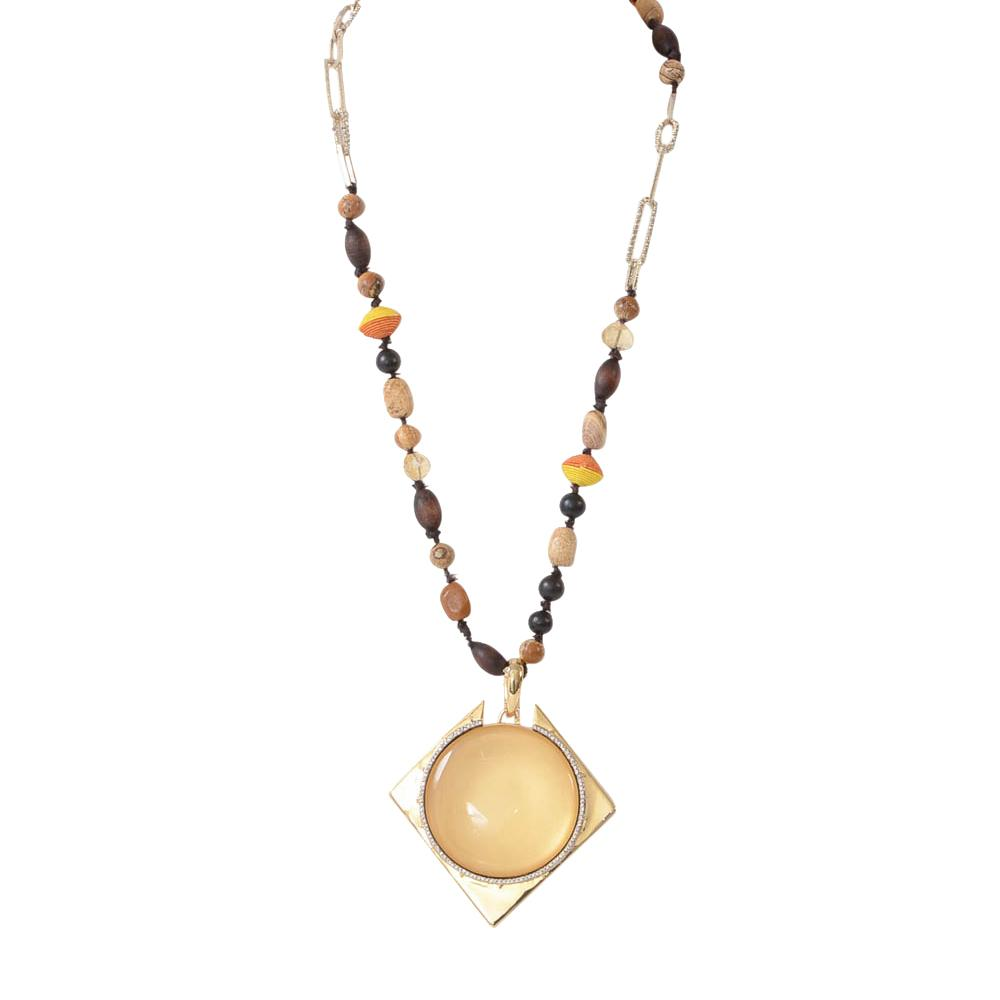 Alexis Bittar Yellow Gold Plated Crystal Stone Pendant Necklace JEWELRY Alexis Bittar