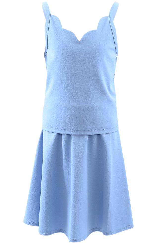 Girls' Sally Miller Couture Crepe 2 Piece Scalloped Cami Skirt Set - 12 APPAREL Sally Miller Couture 12 Blue