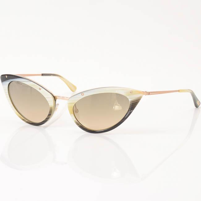 Tom Ford Grace Striped Cat Eye Frame Sunglasses ACCESSORIES Tom Ford 52-20-135 White