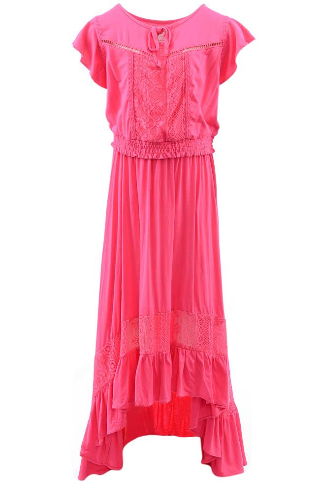 Girls' Mia Joy Catalina 2 Piece Ruffle High-low Top Skirt Set - 8 APPAREL Mia Joy 8 Pink