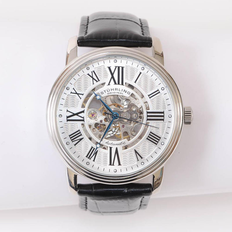 Stuhrling Silver Black Round Skeleton Automatic Mens Watch JEWELRY Stuhrling