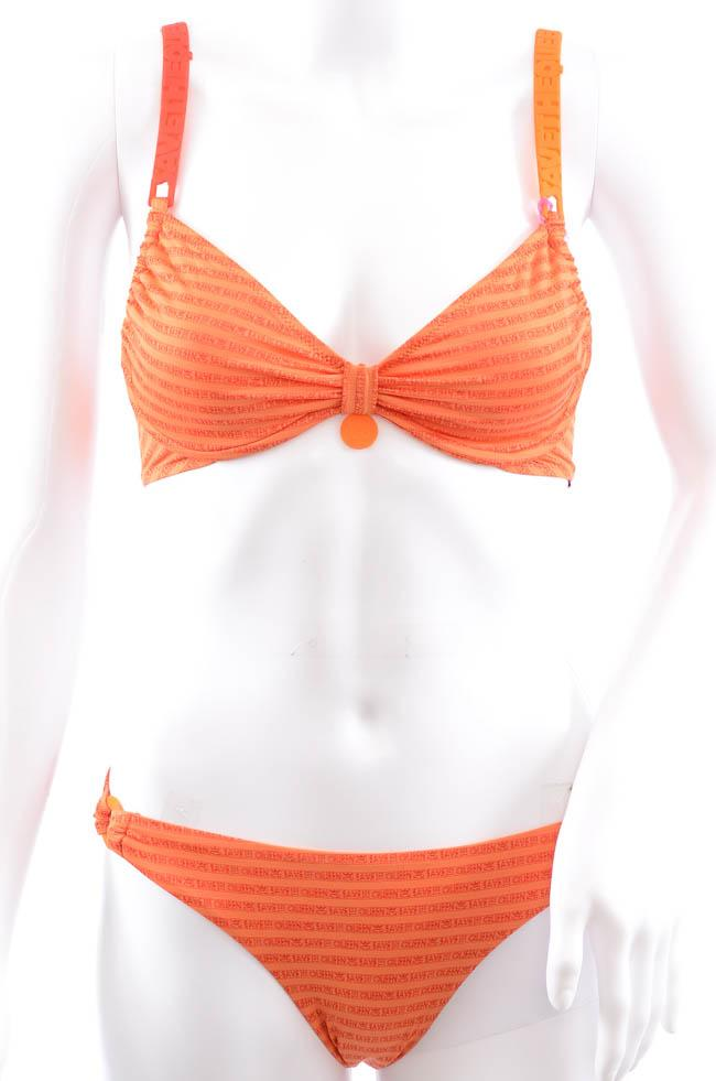 Save The Queen Text Print 2 Piece UW Bikini Swim Set - S APPAREL Save The Queen Small Orange
