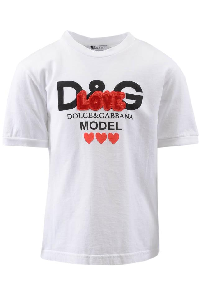 Girls' Dolce & Gabbana Logo Embroidered Love T-shirt Top - 4 APPAREL Dolce & Gabbana 4 White