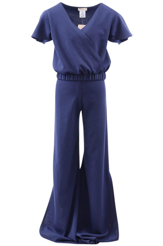 Girls' Sally Miller Couture Crepe 2 Piece Surplice Top Pant Set - 7/8 APPAREL Sally Miller Couture 7/8 Blue