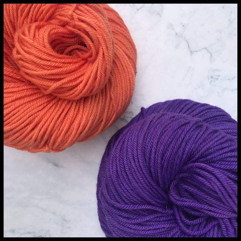 Clemson University orange and purple color yarn