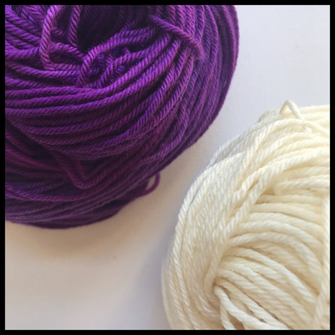 Kansas State University purple and white color yarn team spirit