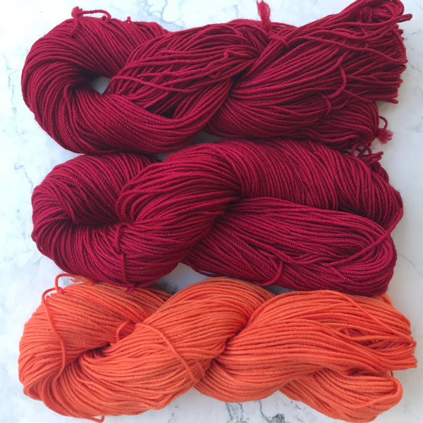 Virginia Tech maroon and orange yarn colors