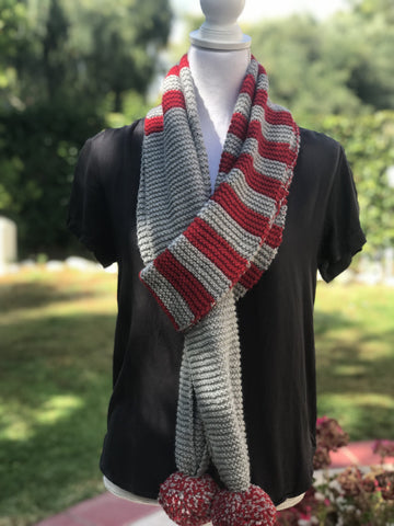 Pom Pom Striped Scarf Kit
