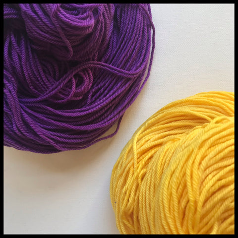 Lousiana State university purple and gold color yarn college team spirit