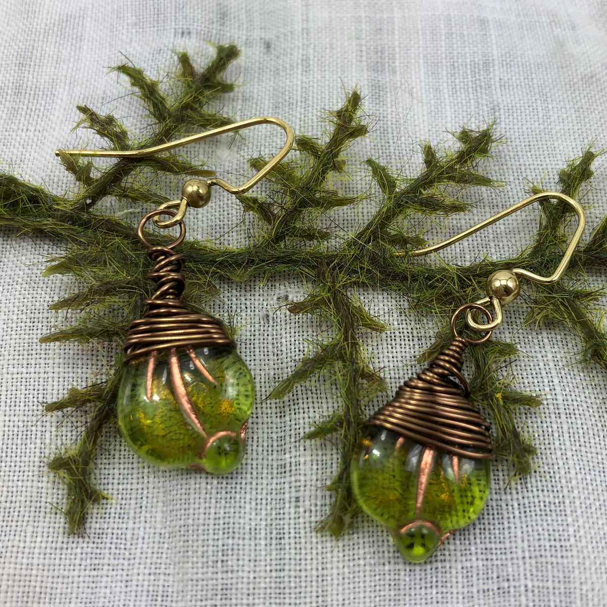 Rust and Leaf Czech glass copper wrapped earrings