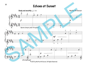 One page score sample for Echoes at Sunset