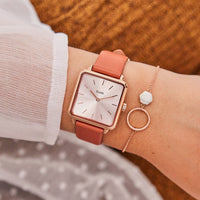 CLUSE La Tétragone Leather Rose Gold Soft Rose Gold/Butterscotch CW0101207008 - Watch on wrist