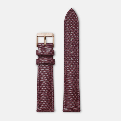 Image: CLUSE 18 mm Strap Burgundy Lizard/Rose Gold CLS080 - strap