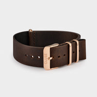 CLUSE Strap 20 mm Nato Leather, Dark Brown/ Rose Gold CS1408101070 - strap