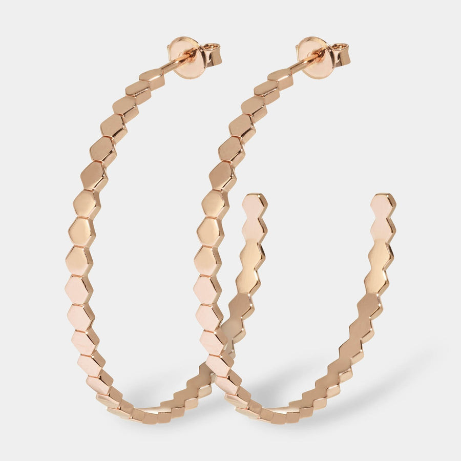 CLUSE Essentielle Rose Gold All Hexagons Hoop Earrings CLJ50008 - earrings