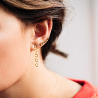 CLUSE Essentielle Gold Hexagon Ear Climber Earrings CLJ51010 - earrings in ear