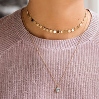 CLUSE Idylle Gold Marble Hexagon Pendant Necklace CLJ21008 - necklace on model
