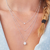 Idylle Silver Marble Hexagon Pendant Necklace