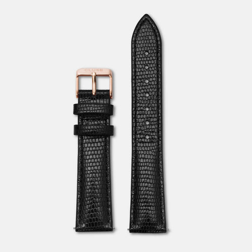 Image: CLUSE 18 mm Strap Black Lizard/Rose Gold CLS068 - strap