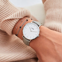 CLUSE 18 mm Strap Grey/Silver CLS020 - strap on wrist