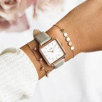 CLUSE La Tétragone Rose Gold White/Grey CL60005 - watch on wrist