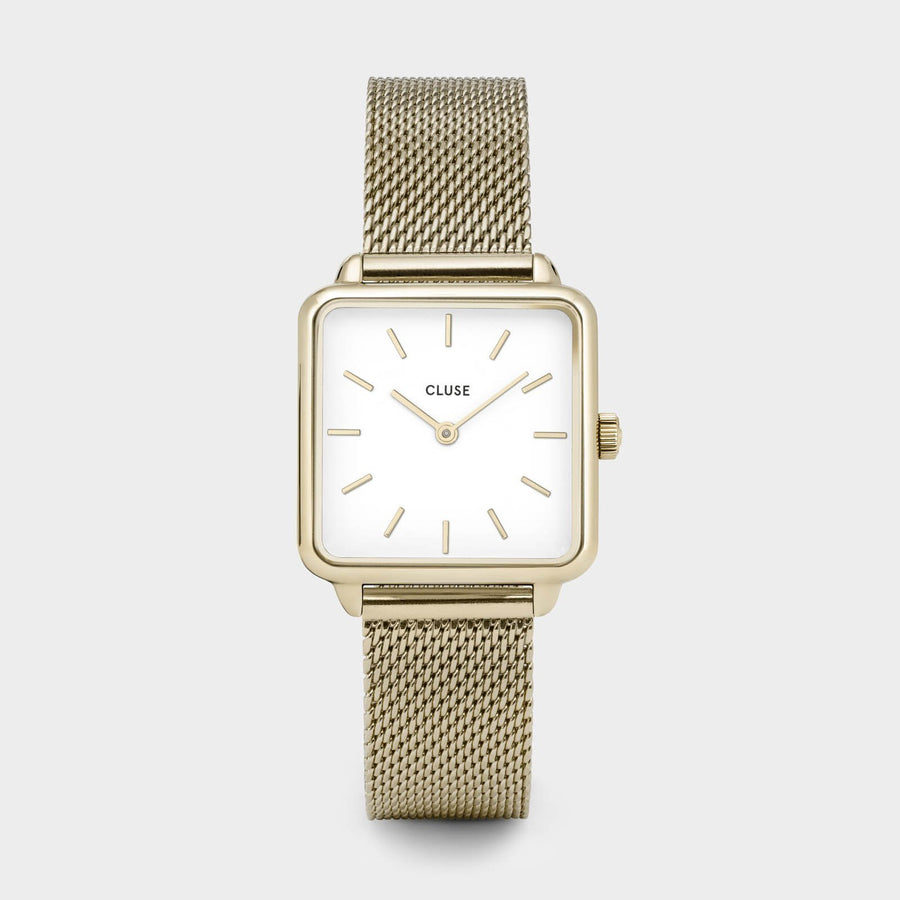 CLUSE La Tétragone Gold Mesh/White CL60002 - watch