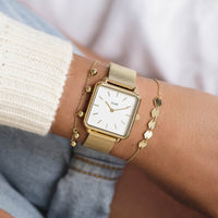 CLUSE La Tétragone Gold Mesh/White CL60002 - watch on wrist