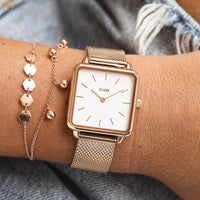 CLUSE La Tétragone Rose Gold Mesh/White CL60003 - watch on wrist