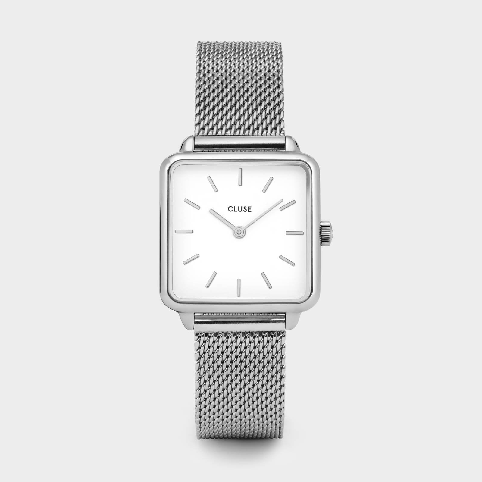 CLUSE La Tétragone Silver Mesh/White CL60001 - watch